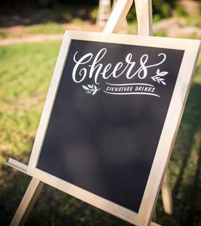 Timber & Chalkboard 'Cheers' sign