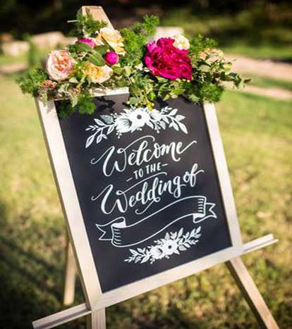 Timber & Chalkboard 'Welcome to the wedding of' sign