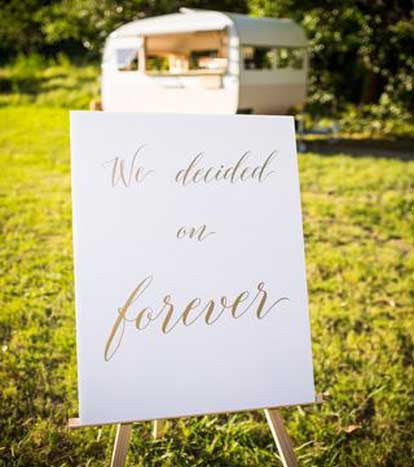 White & Gold 'We decided on forever' sign | Large | 1 available