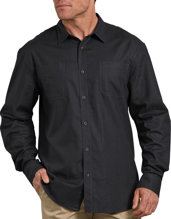 Dickies Long Sleeve Solid Cotton Shirt, Stonewashed Black