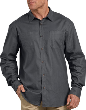 Dickies Long Sleeve Solid Cotton Shirt, Stonewashed Charcoal