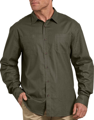 Dickies Long Sleeve Solid Cotton Shirt, Stonewashed Moss