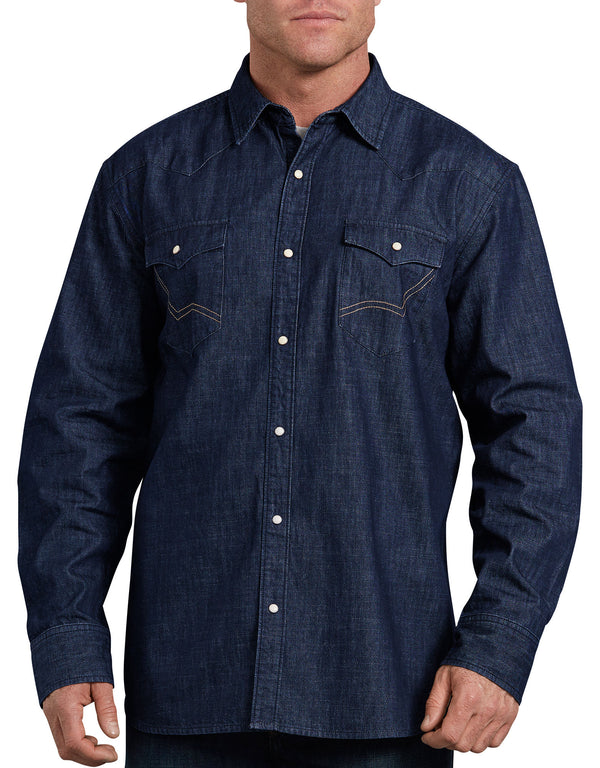 Dickies Long Sleeve Demin Western Shirt, Rinsed Indigo
