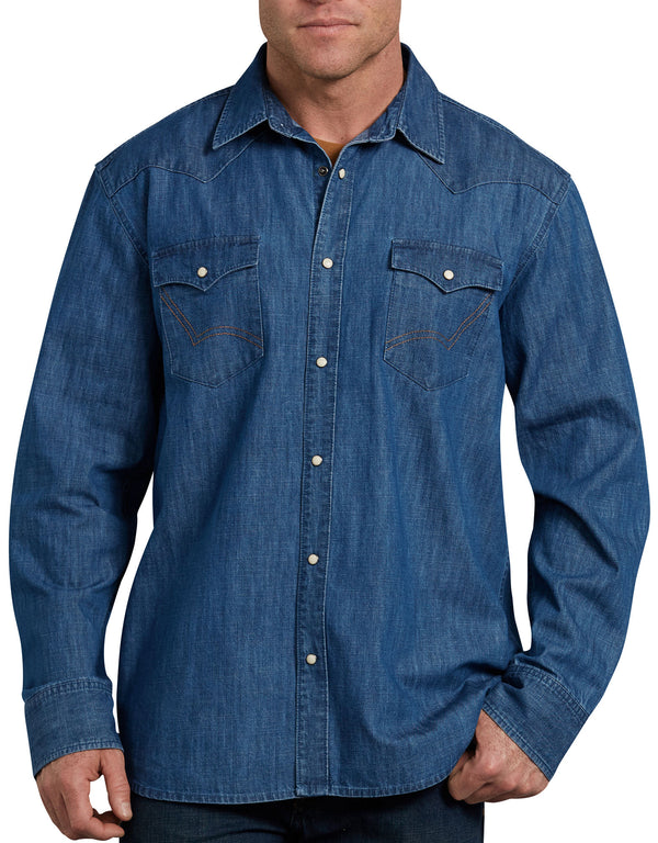Dickies Long Sleeve Demin Western Shirt, Stonewashed Indigo