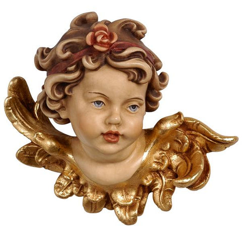 Leonardo Angel Head with Rose Facing Left