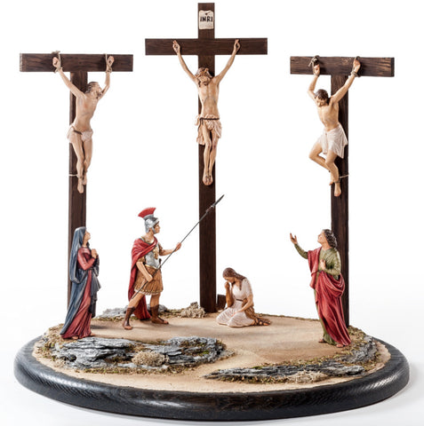 Crucifixion with Figures - Passion Woodcarving