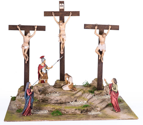 Crucifixion with 7 Figures & Pedestal - Passion Woodcarving