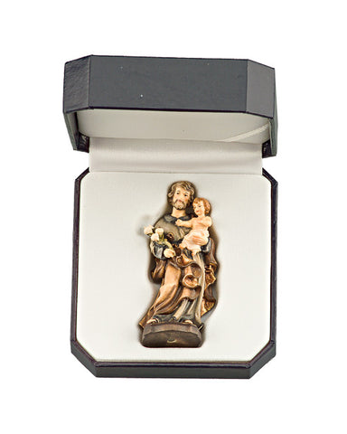 St. Joseph with Infant Lord - Miniature Woodcarving by LEPI