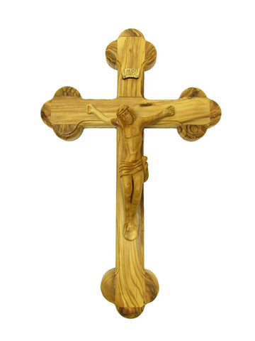 "14""-21"" Fourteen Station Crucifix - Wood Carved Corpus - Made in Jerusalem"