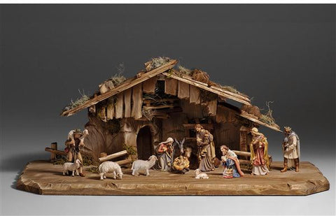 14 Piece Kostner Nativity Set by PEMA Woodcarvings - Hand Painted