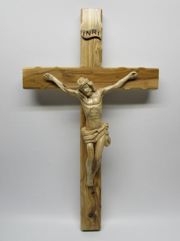 "12""-20"" Hand Carved Olive Wood Crucifix - Rugged Cross - Made in Jerusalem"