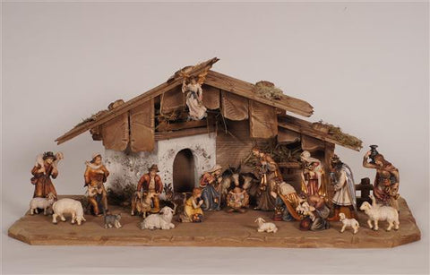 24 Piece Kostner Nativity Set with White Washed Stucco Nativity Stable