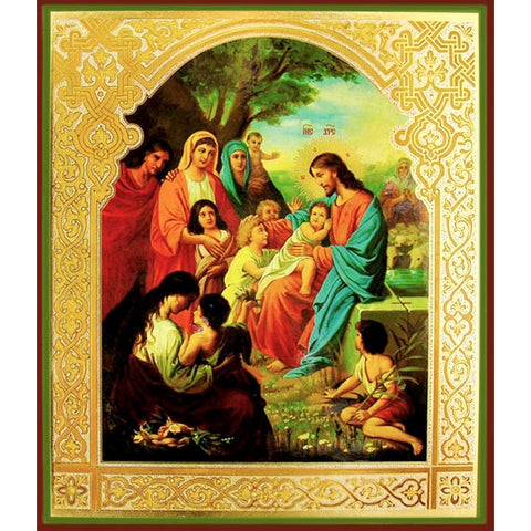 Jesus Blesses the Little Children Russian Icon