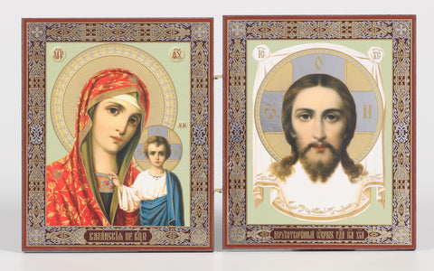Christ & Mary with Jesus - Diptych Icon