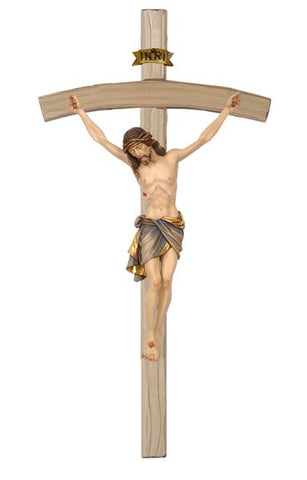 Bowed Crucifix - Hand Painted or Natural Wood