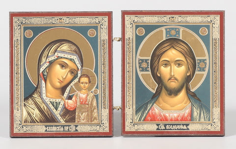 Christ the Teacher and Virgin of Kazan Diptych Icon