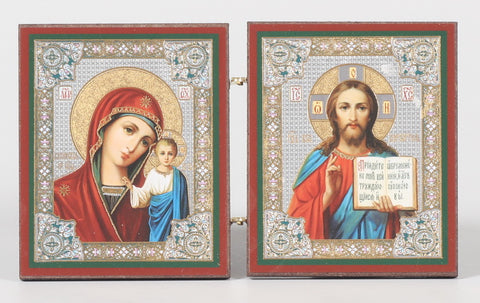 Christ Pantocrator and Virgin of Kazan Diptych Icon
