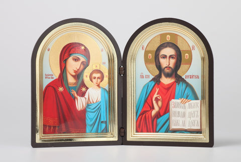 Christ Pantocrator and Madonna with Jesus - Diptych Icon in Case