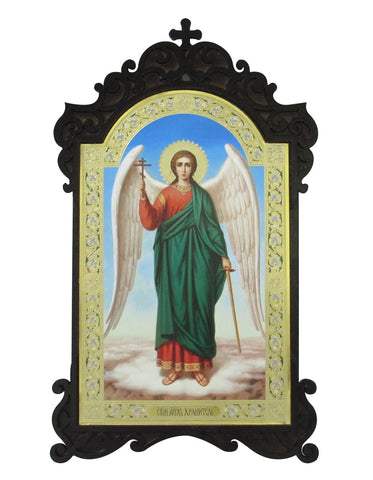 Guardian Angel Holding Cross and Sword Icon - Ornate Wooden Frame