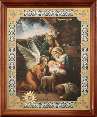 Holy Family with Angel Christmas Icon