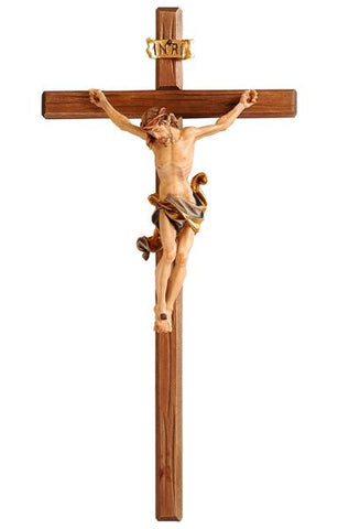 PEMA Leonardo Style Wood Carved Crucifix - Hand Painted Corpus