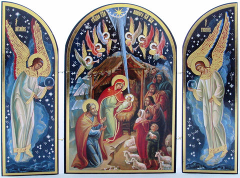 Russian Triptych Nativity Icon,  Infant Jesus, Joseph, Mary, Shepherds & Angels in Bethlehem