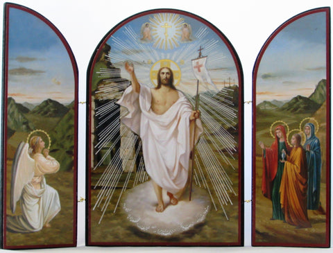 Resurrection Triptych, Risen Jesus, and Angel, and the Three Women at the Tomb
