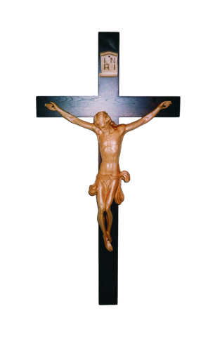 "42"" Chapel Crucifix - Hand Carved Corpus - Oak Cross"