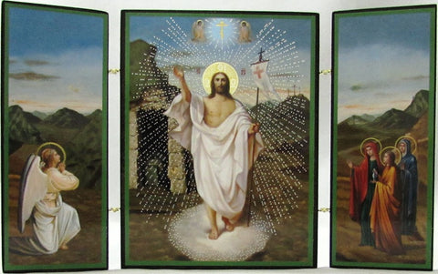 Small Rectangular Resurrection Triptych Icon