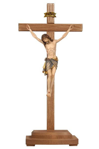 "13"" - 33"" Hand Carved Standing Crucifix -  Home or Church Altar Crucifix"
