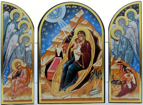 Traditional Triptych of Jesus and the Virgin at His Nativity