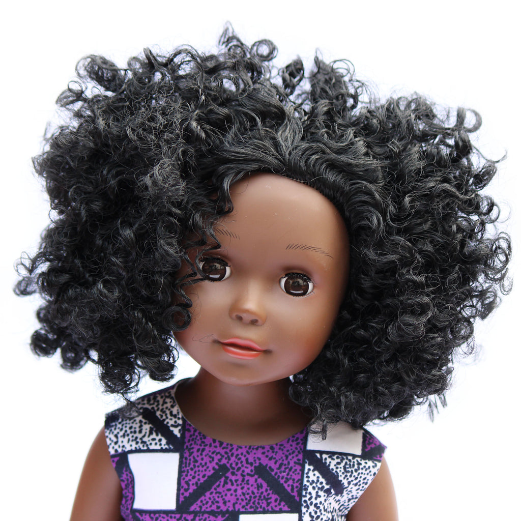 Dark skin black doll with curly hair