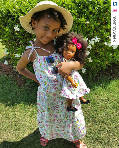 Black girl and her African American doll 18 inch Ikuzi Doll