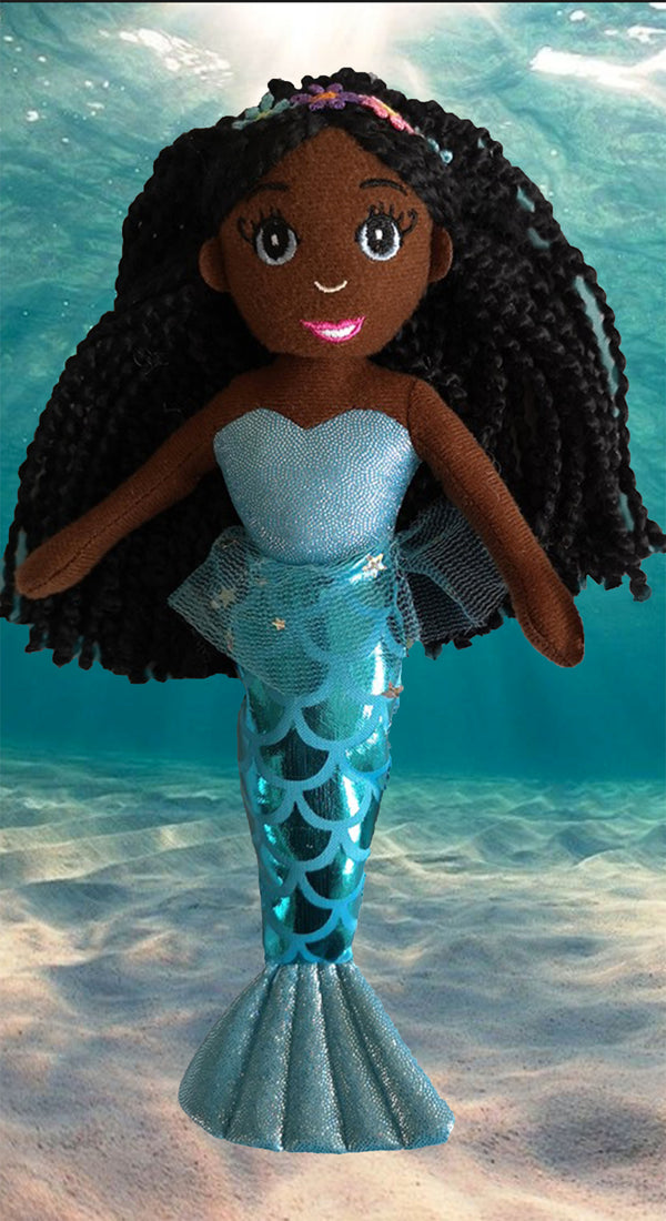 Dark Brown Skin Tone Mermaid Doll