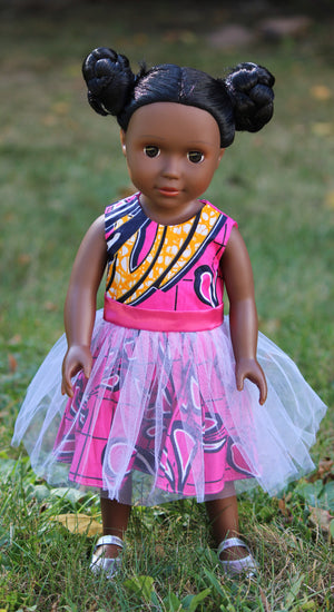Dark Brown Skin Tone Doll with Braided Buns