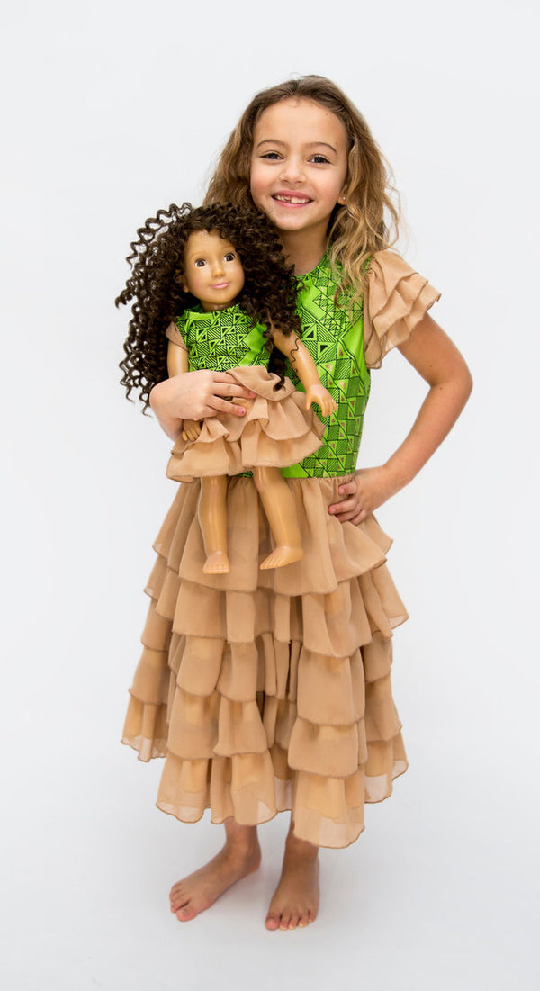 Green African Print Girl & Doll Dress Set