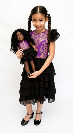 Purple African Print Girl & Doll Ruffle Dress Set