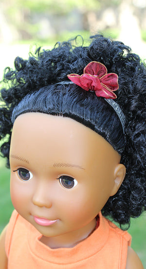 18 inch doll elastic headband with red flower