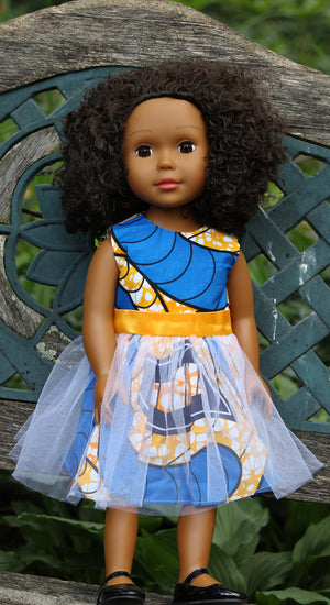 natural hair doll in blue dress