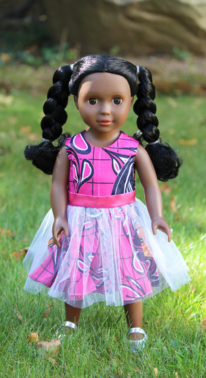 Dark Brown Skin Tone Doll with Braided Pigtails