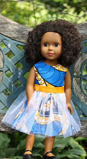 african american baby doll in ankara outfit