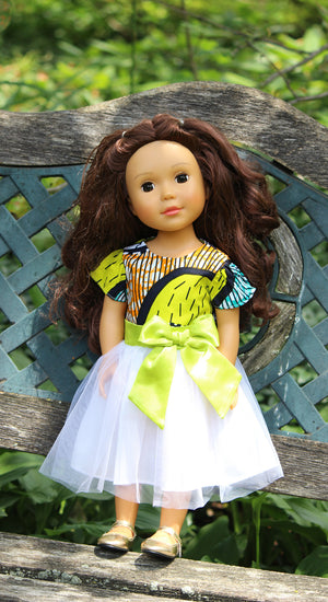"Lime African Print 18"" Doll Dress"