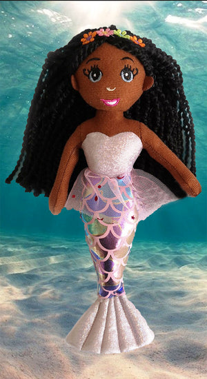 Medium Brown Skin Tone Mermaid Doll
