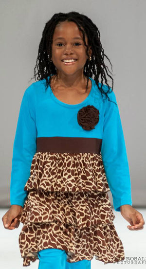 Turquoise and Brown Giraffe Print Girls Dress