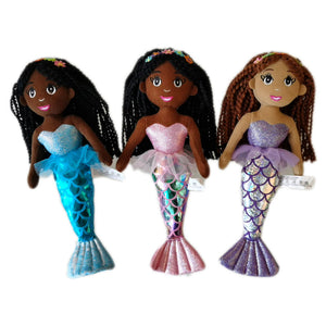 3 black mermaid dolls