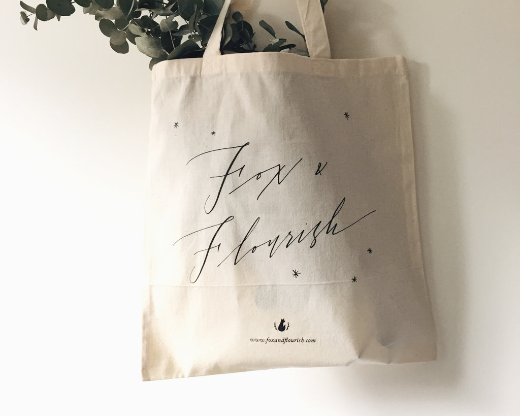 Fox & Flourish Natural Tote Bag