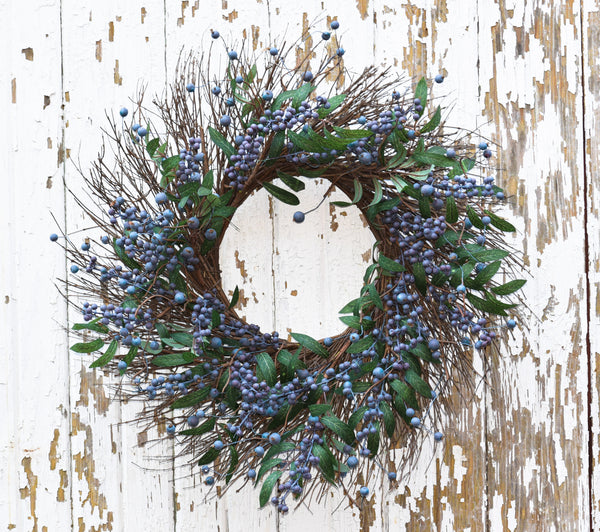 "Fresh Blueberry Wreath - 24"" - HOME DECORATIVE ACCENTS - 1"