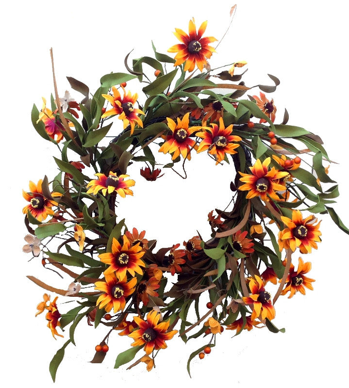 "Sunflower Buttercup Wreath - 22"" - HOME DECORATIVE ACCENTS"