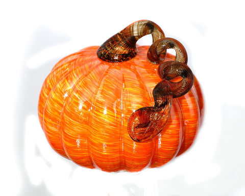 "Orange/Yellow Glass Pumpkin - Medium - 5.5"" x 5.5"" - HOME DECORATIVE ACCENTS"