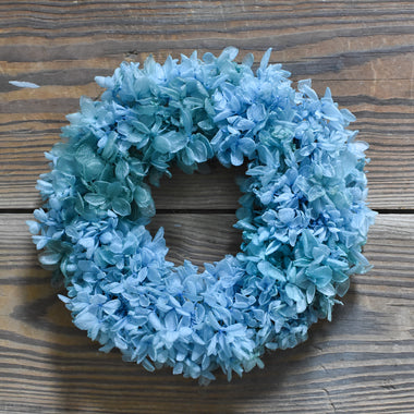 Preserved Hydrangea Candle Ring - Blue - 6.5""